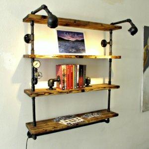 knihovna kandelábr s horním osvětlením - opalovaná
